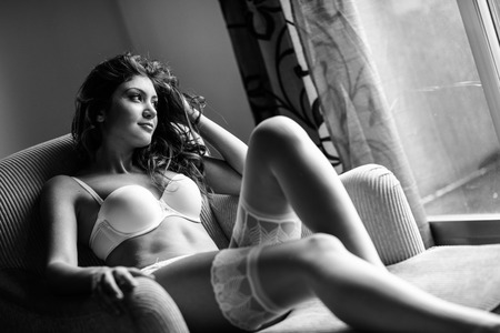 woman bra: Sexy young woman wearing bride lingerie. White bra and panties Stock Photo