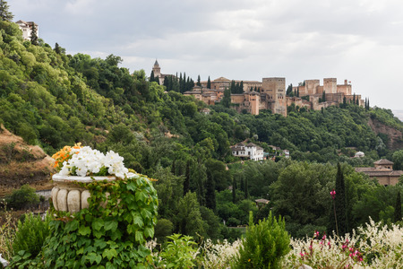 View of the famous Alhambra palace in Granada from Sacromonte quarter, Spain. Banco de Imagens