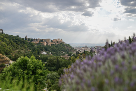 View of the famous Alhambra palace in Granada from Sacromonte quarter, Spain. Imagens