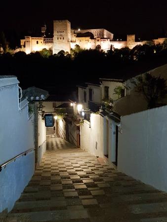 スペイン アルバイシン地区の狭い通りからグラナダの有名なアルハンブラ宮殿の夜景