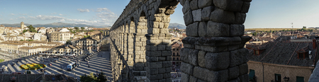 Panoramic view of Segovia and its Aqueduct. Roman construction of the 1st century, World Heritage of Unesco. Travel concept. Spain, Castile and Leon, Segovia. Stock Photo - 115350412