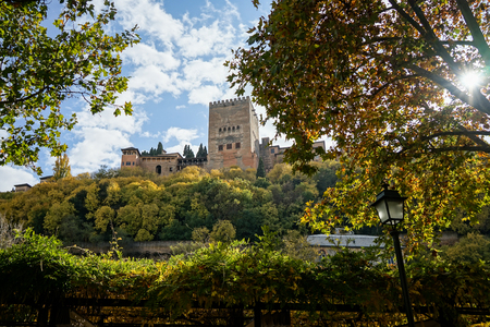 Views of the Alhambra in Granada from the Albaic n neighborhood Stock Photo