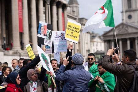 London UK April 15th 2019. Algerian March on Trafalgar square, London, England