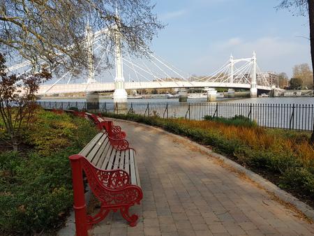 View of the Albert bridge, London, England. Фото со стока
