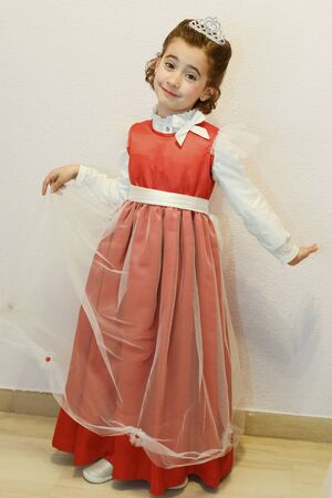 Little girl disguised as a princess for carnival Standard-Bild