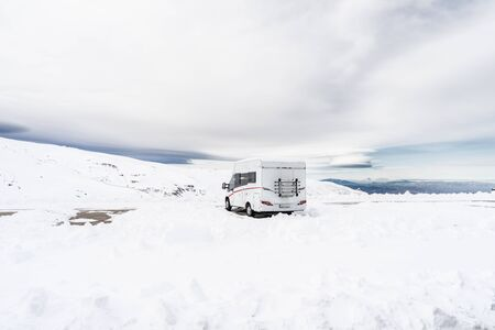 Motorhome at ski resort of Sierra Nevada 写真素材