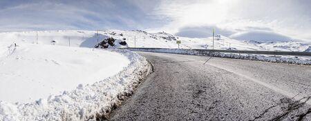 Road in ski resort of Sierra Nevada in winter, full of snow. 写真素材