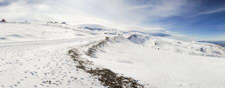Ski resort of Sierra Nevada in winter, full of snow.