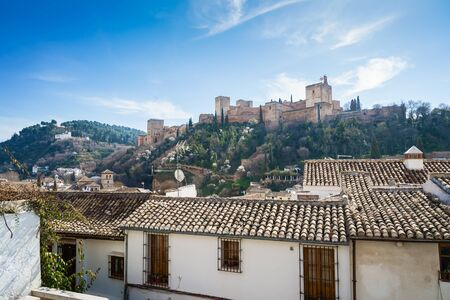 View of the Alhambra of Granada from the Albaicin Stock fotó