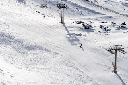 Spain, Andalusia, Granada. Ski resort of Sierra Nevada in winter, full of snow. Travel and sports concepts.