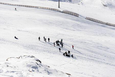 People preparing to ski in the Sierra Nevada ski resort