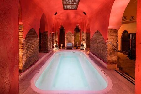 Arabic baths Hammam in Granada, Andalusia, Spain. Elvira baths. Hot water pool.