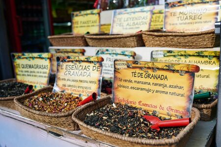 GRANADA, ANDALUSIA, SPAIN. JANUARY 5TH, 2020. Spices on display on sale at market