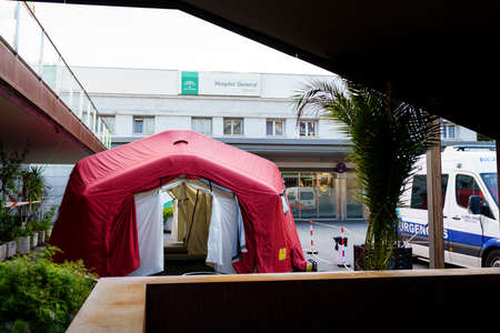 GRANADA SPAIN 23RD APRIL 2020 Temporary disinfection tent. Editorial