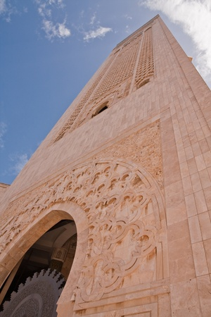 tower in the Hassan II Mosque in Casablanca, Morocco