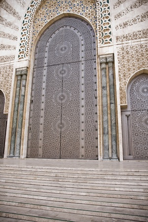 workship: Arab door in the Hassan II Mosque in Casablanca, Morocco