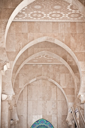 workship: Arab arches in the Hassan II Mosque in Casablanca, Morocco