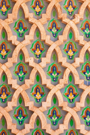 Arab mosaic in the Hassan II Mosque in Casablanca, Morocco photo