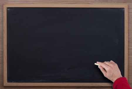 hand and blackboard