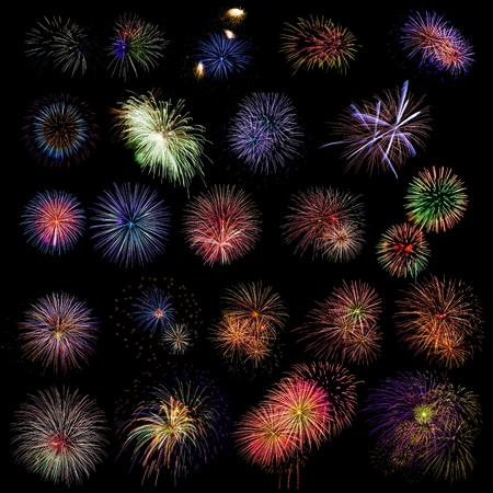 firework: 100 Mpx image with different firewoks