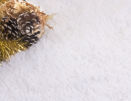 Christmas ornate and snow background create a copyspace Stock Photo - 10836054