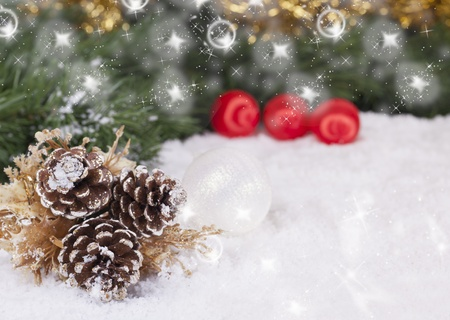 boughs: Christmas Wallpaper with spruce boughs and snow  Stock Photo