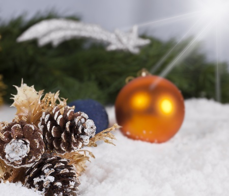 Christmas Wallpaper with spruce boughs and snow  photo