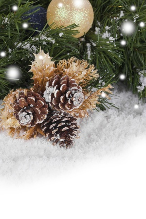 Christmas Wallpaper with spruce boughs and snow