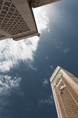 Between two towers in the Hassan II Mosque in Casablanca, Morocco photo