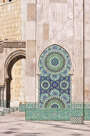 Colorful and decorative water font  in the Hassan II Mosque in Casablanca, Morocco Foto de archivo