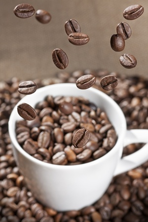 coffee beans floating on a white cup photo