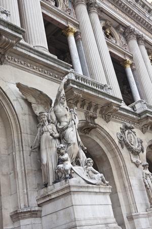 garnier: Sculpture in Opera Garnier symbolizing the instrumental music Stock Photo