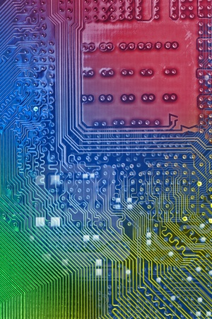 Electronic circuit background  Color added with editing software photo