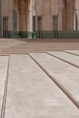 Stairs in the main courtyard in the Hassan II Mosque in Casablanca, Morocco photo