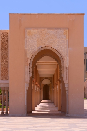 Arab arches in the Hassan II Mosque in Casablanca, Morocco photo