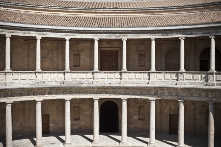 symetric: Carlos V Palace in the Alhambra in Granada, Spain