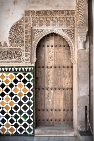 Arabo door in the Alhambra in Granada, Spain