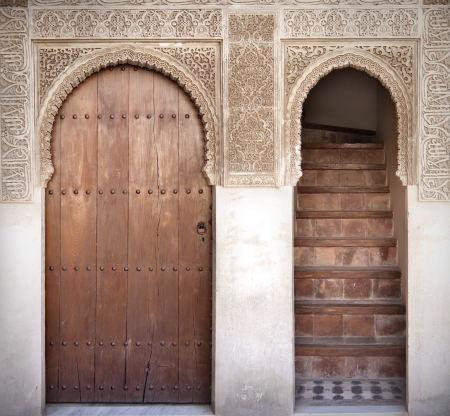 alhambra: Arab door in the Alhambra in Grandda, Spain Editorial