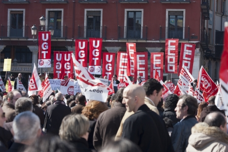 Demonstration on February 2012 against the latest labor reform approved by the Spanish government in the city of Valladolid, Spain. Februray 19, 2012