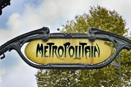 Famous Art Nouveau sign for the Metropolitain underground system in Paris Editorial