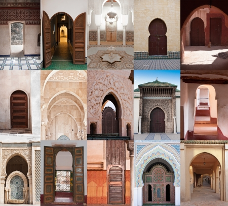 gateway arch: Mosaic with15 different examples of arab architecture in Morocco