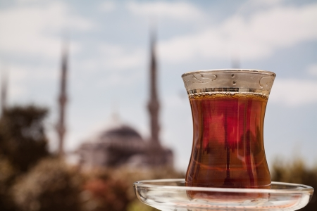 Blue Mosque through a Turkish tea  Istanbul, Turkey photo