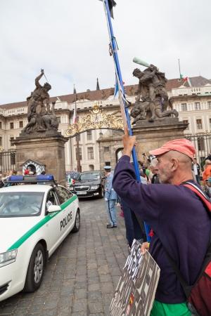 CZECH REPUBLIC, PRAGUE  Sept  03  2013  Demonstrator Stanislav Smetana  The bug of a bailiff made him lose all his possessions, on Sept  03, 2013  Prague, Czech Republic