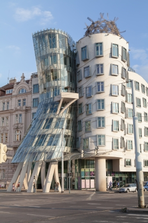 PRAGUE, CZECH REPUBLIC - SEPTEMBER 04  Modern building, also known as the Dancing House, designed by Vlado Milunic and Frank O  Gehry stands on the Rasinovo Nabrezi  Photographed on September 04, 2013 in Prague