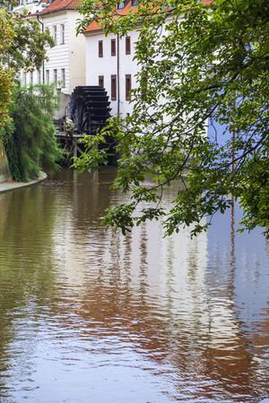 The Devil´s Stream is an artificial channel, dividing the Kampa Island from the Lesser Town of Prague, Czech Republic  Foto de archivo