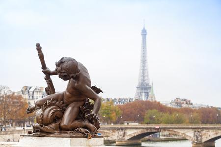 alexandre: Sculpture in the Alexandre III Bridge in Paris, France. Stock Photo