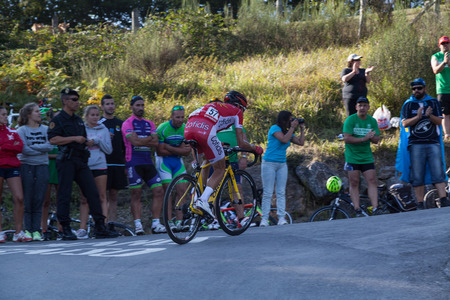 ASTURIAS, SPAIN. September 07th 2015. Stephane Rossetto climbing to Ermita del Alba in the last meters of the 16th stage of