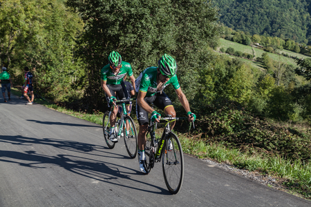 ASTURIAS, SPAIN. September 07th 2015. David Arroyo Duran and a teammate climbing to Ermita del Alba in the last meters of the 16th stage of