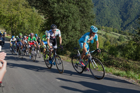 ASTURIAS, SPAIN. September 07th 2015.Mikel Landa Meana pursued by Tom Dumoulin climbing to Ermita del Alba in the last meters of the 16th stage of