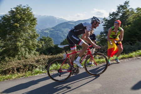 ASTURIAS, SPAIN. September 07th 2015. Frank Schleck climbing to Ermita del Alba in the last meters of the 16th stage of